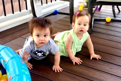 Twins crawling